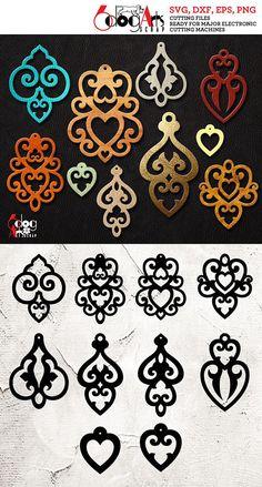10 Leather / Wood / Acrylic Heart Earring Pendant Templates