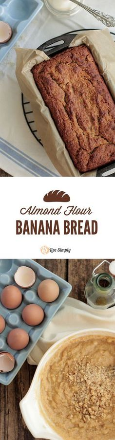 Grain-Free Almond Flour Banana Bread. This banana bread gets rave reviews! The BEST almond flour banana bread. Plus, no oils or processed sugars are needed for this recipe. -Live Simply