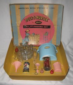 1950s AMSCO DOLL-E NURSER PLAYSET DOLL FEEDING SET IN ORIGINAL BOX | eBay
