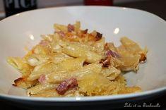Gratin de pennes à la crème de parmesan et lardons Penne, Pasta, Parmesan, Lolo, Potato Salad, Macaroni And Cheese, Spaghetti, Chicken, Cooking