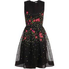 TEMPERLEY LONDON Primrose Floral Flared Dress (£1,330) ❤ liked on Polyvore featuring dresses, vestidos, short dresses, black, floral flare dress, black dress, embroidered dress, black embroidered dress and floral dress