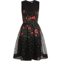 TEMPERLEY LONDON Primrose Floral Flared Dress (£1,330) ❤ liked on Polyvore featuring dresses, vestidos, short dresses, black, floral flare dress, black dress, embroidered dress, black embroidered dress and floral dress
