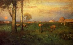 George Inness, American (1825-1894) Sundown Oil on canvas 1894