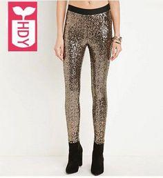5363caf4268 Richkoko New Fashion Women Casual Elastic Waist Slim Pants Golden Sequin  Skinny Leggings Solid Basic Women Pants