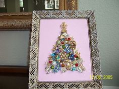 Vintage Rhinestone Jewelry Christmas Tree Framed Art Picture Chic and Shabby   eBay