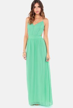 Green Spaghetti Strap Backless Pleated Long Dress