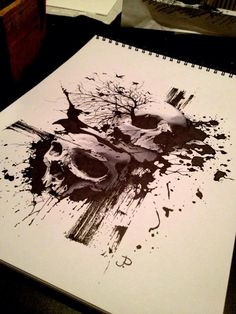 Abstract skulls! Cool tat idea add some roses and barbed-wire and it'd be even cooler!!!