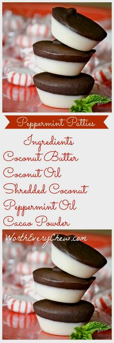 Paleo/Keto Peppermin Paleo/Keto Peppermint Patties from WorthEveryChew.com ......These make the perfect fat bomb and a great low carb high fat answer to your sweet tooth.A crisp, sweet satisfying recipe that is Worth Every Chew !