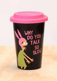 11 oz ceramic travel mug with silicone top. Sip away your exasperation.