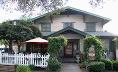 Great for breakfast in a beautiful historic home.  It has a patio area just for dogs and even with their own menu and play yard
