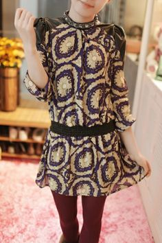 Rhinestone Trimmed Faux Leather Shoulders Chiffon Dress
