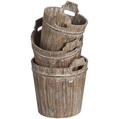 Set of three wooden buckets