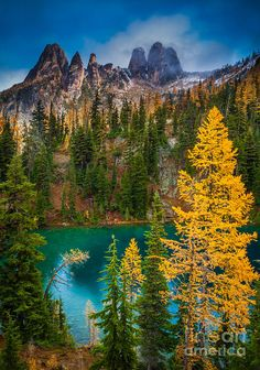 America Photograph - Blue Lake And Early Winter Spires by Inge Johnsson