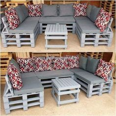 You can superbly make the use of the old shipping pallets in the creation of the exciting U shaped couch set. This whole creation is all comprised off. , Tempting DIY Ideas with Recycled Wooden Pallets Garden Furniture Inspiration, Garden Furniture Design, Pallet Garden Furniture, Diy Outdoor Furniture, Diy Furniture, Pallets Garden, Rustic Furniture, Antique Furniture, How To Build Pallet Furniture