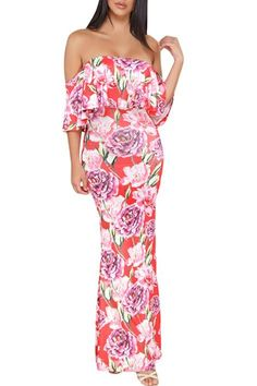 083a9e2628913 Coral Red Floral Print Off-the-shoulder Maxi Dress MB61189-103 – ModeShe