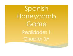 """This is a great partner game for 2-3 players to review the vocabulary in the Realidades 1 curriculum!  Students compete to claim spaces on a """"honeycomb."""" Each player is assigned either an A or B question bank so the students hold each other accountable for correct answers as they play!"""