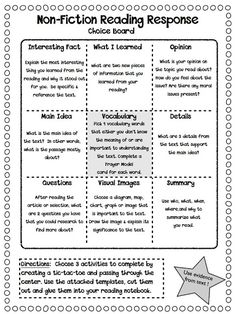 The Curious Apple: Non-Fiction Reading Response Choice Boards
