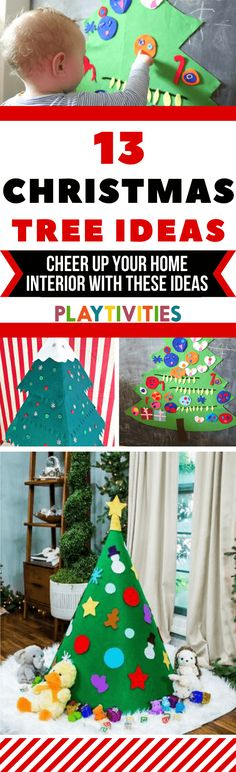 I've got you covered with 13 awesome DIY Christmas tree ideas. Simple and easy to make, won't cost you a dime and most importantly, your youngest ones will be enjoying these DIY Christmas trees very much! Christmas Tree Decorations For Kids, Cardboard Christmas Tree, Homemade Christmas Tree, Alternative Christmas Tree, Holiday Crafts For Kids, Christmas Gifts For Kids, Easy Crafts For Kids, Christmas Crafts, Christmas Ideas