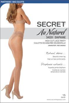 Pantyhose | Au Naturel High Cut Lace Control SecretLegwear.com