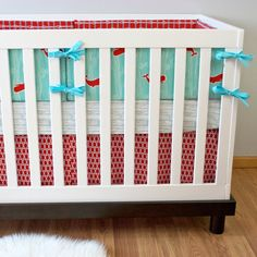 Crib Bedding Baby Bedding Nautical Whales Ocean by modifiedtot (More of that red and mint!)