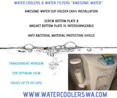 AWESOME WATER CUP HOLDER SHORT CUP DISPENSER EASY INSTALLATION SCREW BOTTOM PLATE & MAGNET BOTTOM PLATE IS INTERCHANGEABLE. ANTI BACTERIAL MATERIAL PROTECTION SHIELD TRANSPARENT WINDOW FOR OPTIMUM VIEW HOLDS UP TO 50 CUPS Double Swing, Water Coolers, Water Filter, Hold On, Cups, How To Remove, Plate, Window, Awesome
