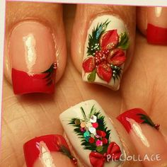 Navidad flor pascua Love Nails, Lounge, Glamour, Simple Christmas Nails, Airport Lounge, Lounges, The Shining, Lounge Music, Family Rooms