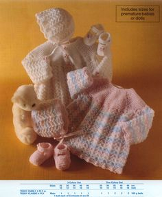 Knit Baby Matinee Coat Bonnet Booties Vintage Knitting Pattern 10-18 inch chest cardigan beanie socks shoes jumper sweater PDF Download
