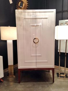Miles white lacquer armoire @WorldsAway1 @lasvegasmarket looking so fresh