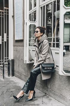 Leather_Trousers-Black_ Trench Coat-Proenza_Schouler-PS11 Bag