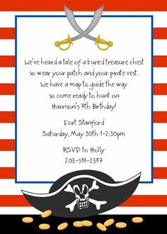 Pirate birthday party invitation wording ideas
