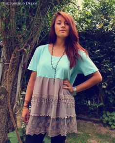Bohemian top ruffled lace tunic mini dress shirt mint blue Boho Hippie style Upcycled Recycled OOAK by TheBohemianDream