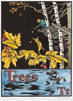 Betsy Bowen woodcut from Antler, Bear , Canoe -  A Northwoods Alphabet, 1990.