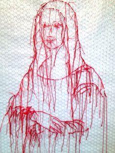 Mona Lisa Joconde par Guacolda Thread Art, Thread Painting, Mona Lisa, A Level Textiles, Art Alevel, Stitch Drawing, Cross Art, Art Du Fil, Collages