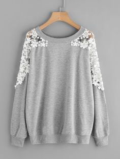 12e9b7ec2 To find out about the Lace Panel Beaded Sweatshirt at SHEIN