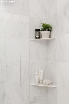 Luxe uptown bath with luxe marble square wall tiles and custom marble shower shelves from Home Depot. Diy Bathroom Remodel, Shower Remodel, Bathroom Renovations, Bathroom Ideas, Ikea Bathroom, Bathroom Showers, White Bathroom, Bathroom Green, Bathroom Goals