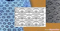 Find and save knitting and crochet schemas, simple recipes, and other ideas collected with love. Crochet Stitches Chart, Crochet Diagram, Filet Crochet, Crochet Motif, Knitting Stitches, Crochet Lace, Knitting Patterns, Crochet Patterns, Flower Crochet