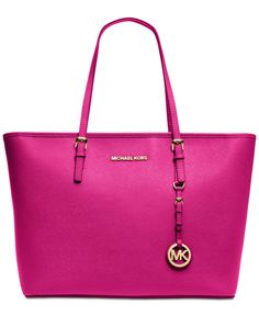 bd65fd6fcd76 NEW $278 Michael Kors Jet Set Top Zip Raspberry Pink Laptop Handbag Tote  Purse #MichaelKors