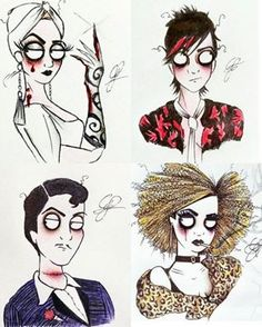 Love this loopy Fan Art! The Countess, Tristan, James March and Hypodermic Sally of AHS Hotel. Follow rickysturn/american-horror-story