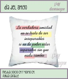 Almohadones dia del amigo, deco, regalos. Fan page VM diseñoimagen Narnia, Bff, Throw Pillows, Lettering, Friends, Videos, Get Well Soon, Pretty Quotes, Personalized Pillows