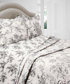 Loving this Black & White Floral Vintage Reversible Quilt Set on #zulily! #zulilyfinds