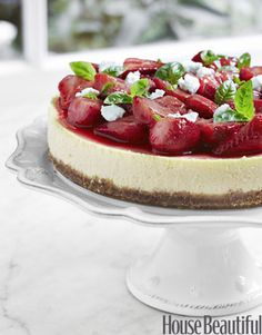 Step-by-step instructions on how to make Tyler Florence's Strawberry and Basil Goat Cheese Cake.