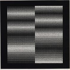 Artwork by Victor Vasarely, Black-white OpArt-composition, Made of Silkscreen…