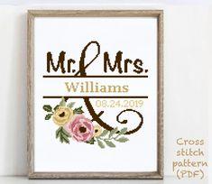 Wedding Cross Stitch Patterns, Modern Cross Stitch Patterns, Cross Stitch Designs, Alphabet And Numbers, Crossstitch, Cross Stitching, Fun Ideas, Wedding Gifts, Pattern Design