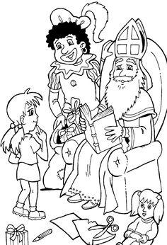 kleurplaat Sinterklaas - Sint kijk in grote boek