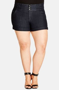 City Chic Short Denim Shorts (Dark Denim) (Plus Size) available at #Nordstrom