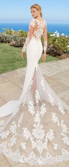 Wonderful Tulle & Acetate Satin Scoop Neckline Mermaid Wedding Dress With Lace Appliques & Beadings