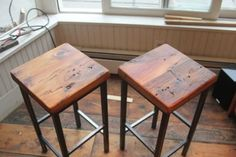 Reclaimed Pine on Metal Square Bar Stools by Vermontfarmtable.  Pretty rustic and contemporary -- lots of pretty graining in the wood.