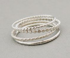 SALE Sterling Silver Rings Stacking Rings set of 4 thin silver stackable rings