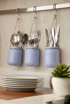 diy decoração pote de vidro organização talheres