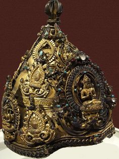 Inscribed Ritual Crown with Four Transcendental Buddhas Nepal 1090 CE Gilt bronze with semi precious stones